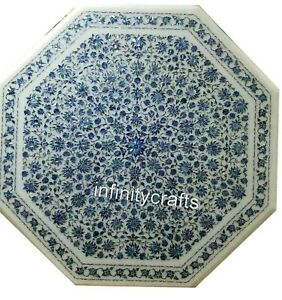 40 Inches White Patio Dining Table Top Semi Precious Stones Inlaid Office Table