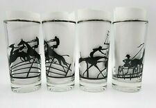 Vintage Set 4 Drinking Tumblers Black Silhouette Horse Riders Polo Horse Race