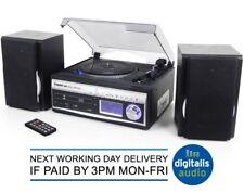 Steepletone Memphis 5in1 Turntable CD DAB Radio MP3 Recorder Silver Music Centre