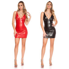 Mini Dress Leather Look Strappy Plunge Wetlook Latex Bodycon KouCla - Black Red