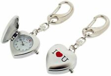 Gift Time Products Womens I Love U Heart Clock Key Ring - Silver