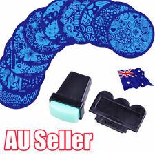 10 X Nail Art Stamp Stencil Stamping Template Plate Set Tool Stamper Design Kit