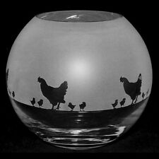 *CHICKEN GIFT*  15cm Boxed CRYSTAL GLASS GLOBE VASE with CHICKENS Frieze