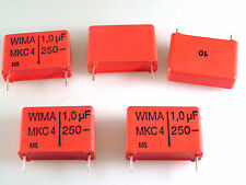 Wima 1uf 10% 250V MKC4 Metalizado De Policarbonato 5 piezas OL0696