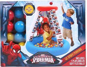 Marvel Kids Go Spidey Inflatable Playland 20 Soft Flex Balls Peek Through Window