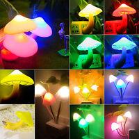 New Sensor Night Light Mushroom LED Lamp Romantic Colorful Home Decor EU/US Plug