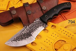 CUSTOM HANDMADE FORGED DAMASCUS STEEL HUNTING CAMPING TRACKER FIX BLADE KNIFE