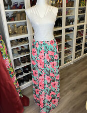 Filly Flair M Medium Aqua Floral Wite Lace Maxi Dress Neon Pink NWT Criss Cross