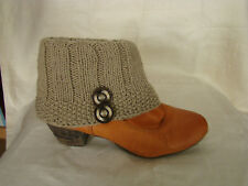 Sebix Warm Winter Wool Handmade Beige Boot Cuffs Legwarmers with Buttons