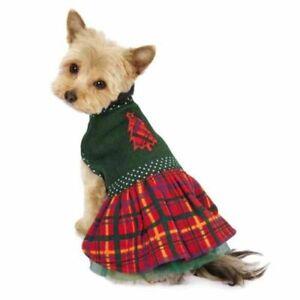 Holly Days Plaid Holiday Dog Dress Green Christmas Tree Polka Dots XSMALL ONLY