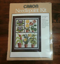 "Greenhouse Caron Needlepoint Kit 11"" x 14"" Flowers Violet Houseplants Opened"