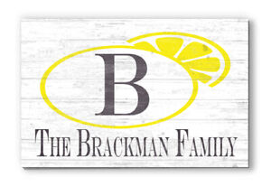 Personalized Lemon Monogram Summer Seasonal Home Décor Family Name Sign Gift