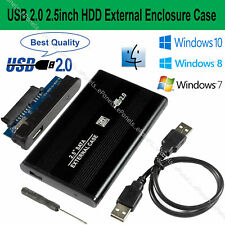 "2.5"" Hard Drive Enclosure Caddy HDD Case SATA to USB 2.0 For Windows & Mac-Black"