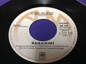 """Segarini Segarini 45 RPM 7"""" EP Pop Rock Vinyl Canada 1977 Piranha Records"""
