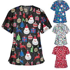 Women Medical Uniform Nursing Scrub Tops Merry Christmas Flower Shirts Girls-