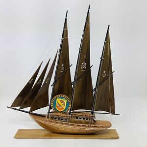 1960's Vintage Wood Sailboat Ship Model Ayhan Boat Shop Sinop, Turkey 18L 22H