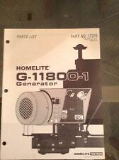 Homelite G-11800-1 Generator Parts List Part No. 17378