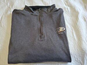 NHL Licensed Anaheim Ducks Jacket 1/4 Zip Pullover Jacket Gray NHL Sz M