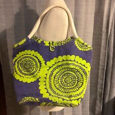 Boden Purple & Green Circle Print Canvas Travel Tote Bag
