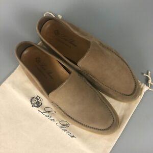 $925 Loro Piana Men Sandstone Suede Summer Walk Flat Pump Shoe Loafer Size 42 8