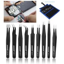 Set Pinzas de Precision en Acero Inox con recubrimiento Antiestatico electronica