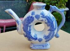 VINTAGE JAPANESE CHINESE 'DONUT' TEAPOT W/DRAGONS WHITE BLUE MARKED
