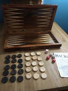 Vintage Backgammon  - Draughts Inlaid Wood/Carved Wood Case + Backgammon Set
