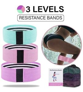 EZTecho Set of 3 Resistance Bands for Legs and Butt, Pink, Teal, Purple