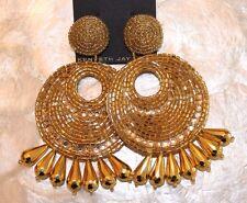 KENNETH JAY LANE Large Gold Beaded Crystal Gypsy Drop Disc Pierced Earrings NWT