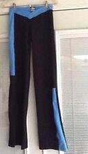 Women's Sz L GALIANA Black/Blue Long Stretch Yoga Pants Leggings Made in Brazil