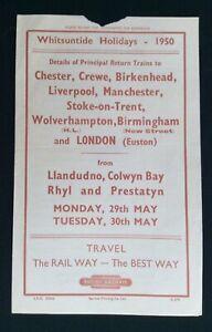 1950 Railway Handbill Llandudno Rhyl Prestatyn to Crewe Liverpool Manchester