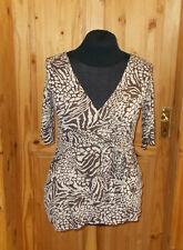 RIVER ISLAND brown beige gold zebra leopard animal print shortsleeve tunic 14 40