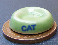 1:12 Scale Green Ceramic Cat Bowl Dolls House Miniature Pet Garden Accessory G43