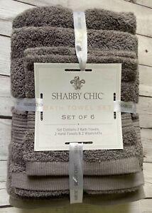 SHABBY CHIC 6pc Bath Towel Set OEKO-TEX 100% Cotton Dark Gray NEW