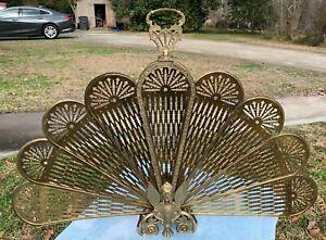 Vintage Style Brass Peacock Griffin Phoenix Folding Fan Fire Screen Guard