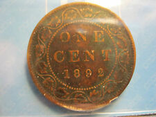 Canada 1892 Queen Victoria Large Cent 1¢ CCCS VG-10 Obverse 2 Open C