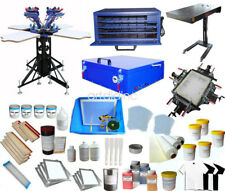 Full Set 4 Color Screen Printing Kit with All Auxiliary Press Equipment & Ink