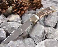 Hartkopf Edles Taschenmesser Messer Neusilberbacken Hirschhorngriff 327311