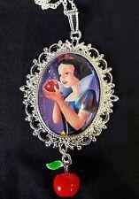Snow White Poisoned Apple Large Silver Pendant Necklace Disney Charm Childrens