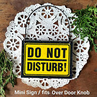 DECO Mini Wood DO NOT DISTURB WARNING SIGN Fits Over Doorknob Ornament Gift USA
