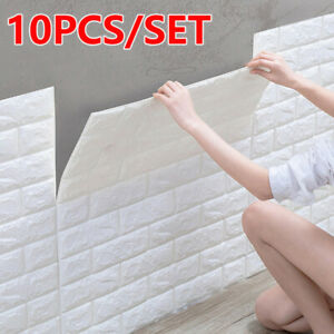 10x 3D Tile Brick Wall Sticker Wallpaper Self-adhesive XPE Foam Panel Home Decor