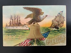 Vintage Postcard, Patriotic, July 4th Greetings, Eagle on Bell, Ships, 1908