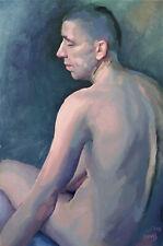 Studio Male Man Live Model Figure Nude Naked Portrait Oil Art Academic Painting