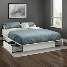 Queen Storage Bed Frame Platform Wood Full/Queen Size Beds With Drawers White