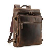 """Vintage Herren Leder 15,6 """" Laptop Rucksack Schultertasche Outdoor Wandern Tote"""