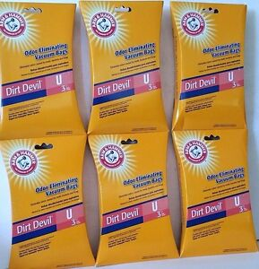 Arm & Hammer Odor Eliminating Vacuum Bags Dirt Devil Type U - 6 pack =18 bags