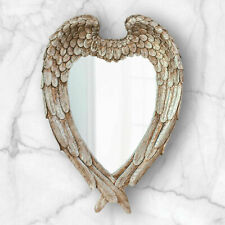 Large Hanging Feathered Angel Wings Mirror Heart Shape Rustic Home Decor Vanity