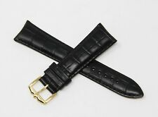 "Rotary 22mm Leather Alligator Grain Watch Strap Band 8"" Long, Buckle BLACK NEW!"