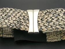 $18 FINA FIRENZA Faux Snakeskin Print Woven Stretch Belt Size S/M **AS-IS**