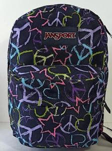 JanSport Backpack Superbreak School Bag Book Back Pack Heart And Star - Unisex